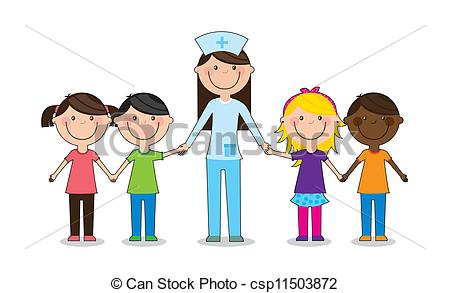 Vector Clipart of Children play doctor. Vector illustration.