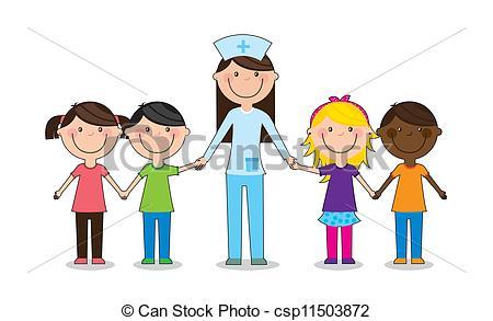 Vector Clipart of Children play doctor. Vector illustration.