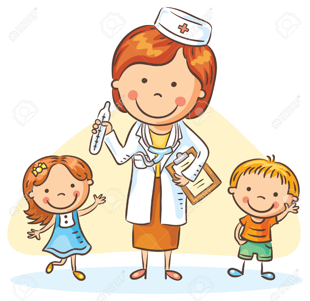 Cartoon Doctor With Happy Little Children, A Boy And A Girl.