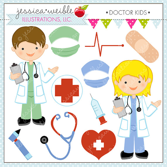 Doctor Kids Cute Digital Clipart for Commercial or Personal Use.