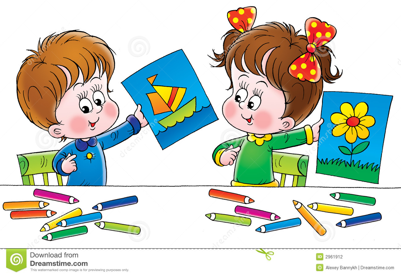 kids drawing clip art - Children Drawing Pictures For Painting