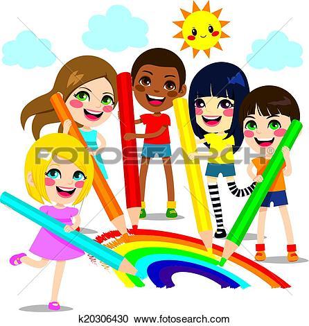 Clipart of Children Drawing Rainbow k20306430.