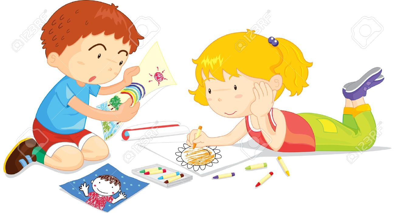 Two Children Drawing Pictures Together Royalty Free Cliparts.