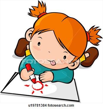 Child drawing clip art.