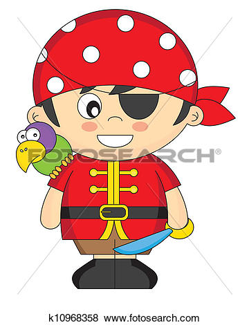 Clip Art of Child dressed as pirate k10968358.