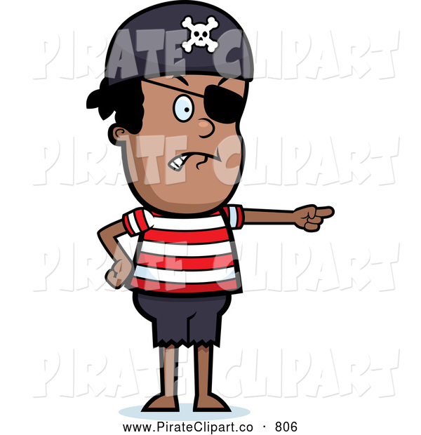 Vector Clip Art of a Black Male Child Dressed As a Pirate Pointing.