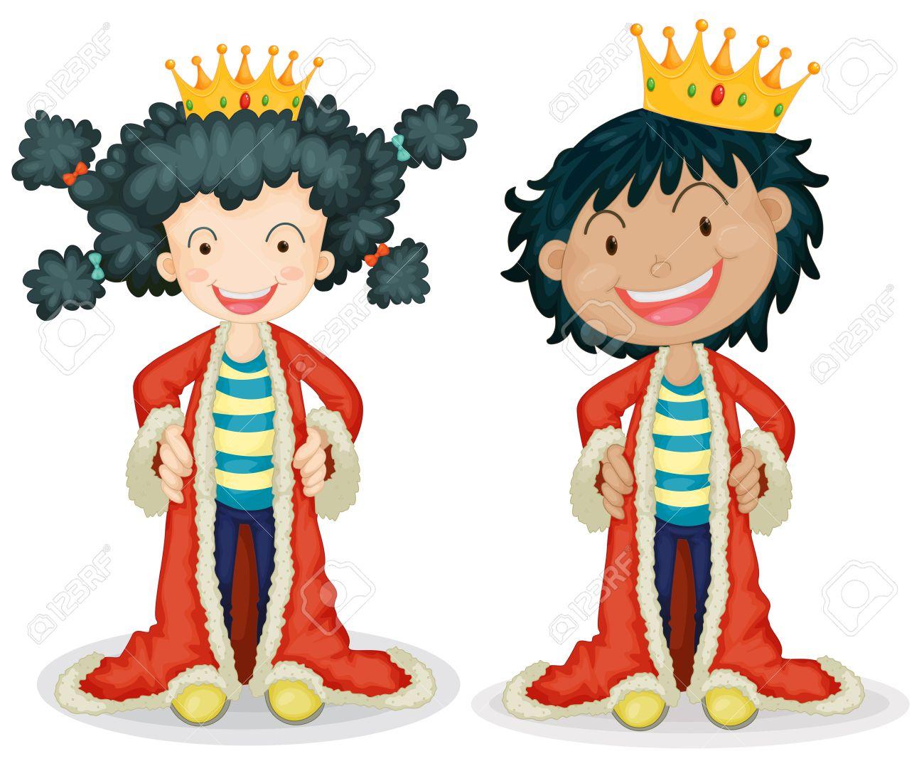 Children dressing up as king.