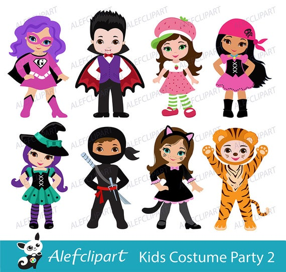 Kids Costume Party digital clipart / Cute Halloween costume kids Clip art /  Personal and Commercial Use / Instant Download.