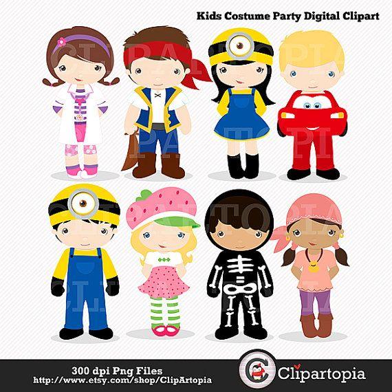 Kids Costume Party digital clipart / Cute Halloween costume.