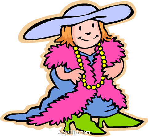 children at play, kids, dressing up Royalty Free Vector Clip.