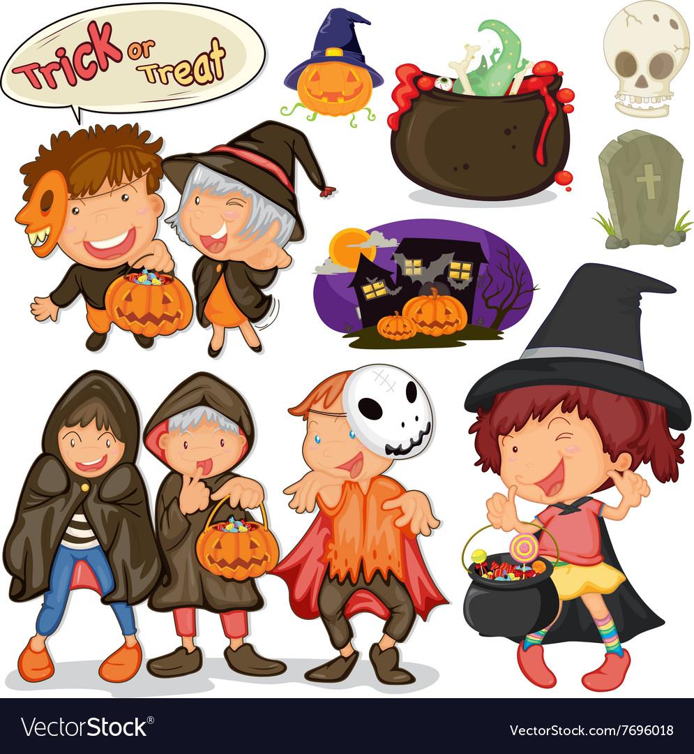 Children dressing up for halloween.