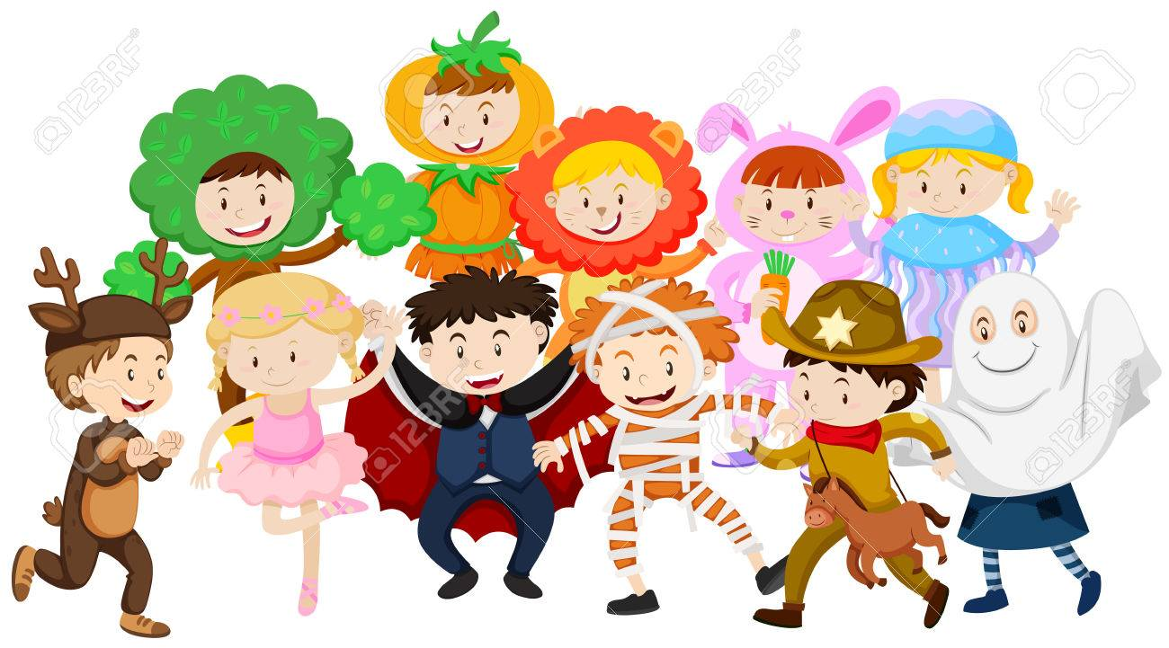 Kids dressing up in different costumes illustration.