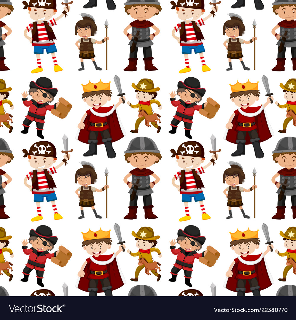 Seamless pattern of children dressed up.