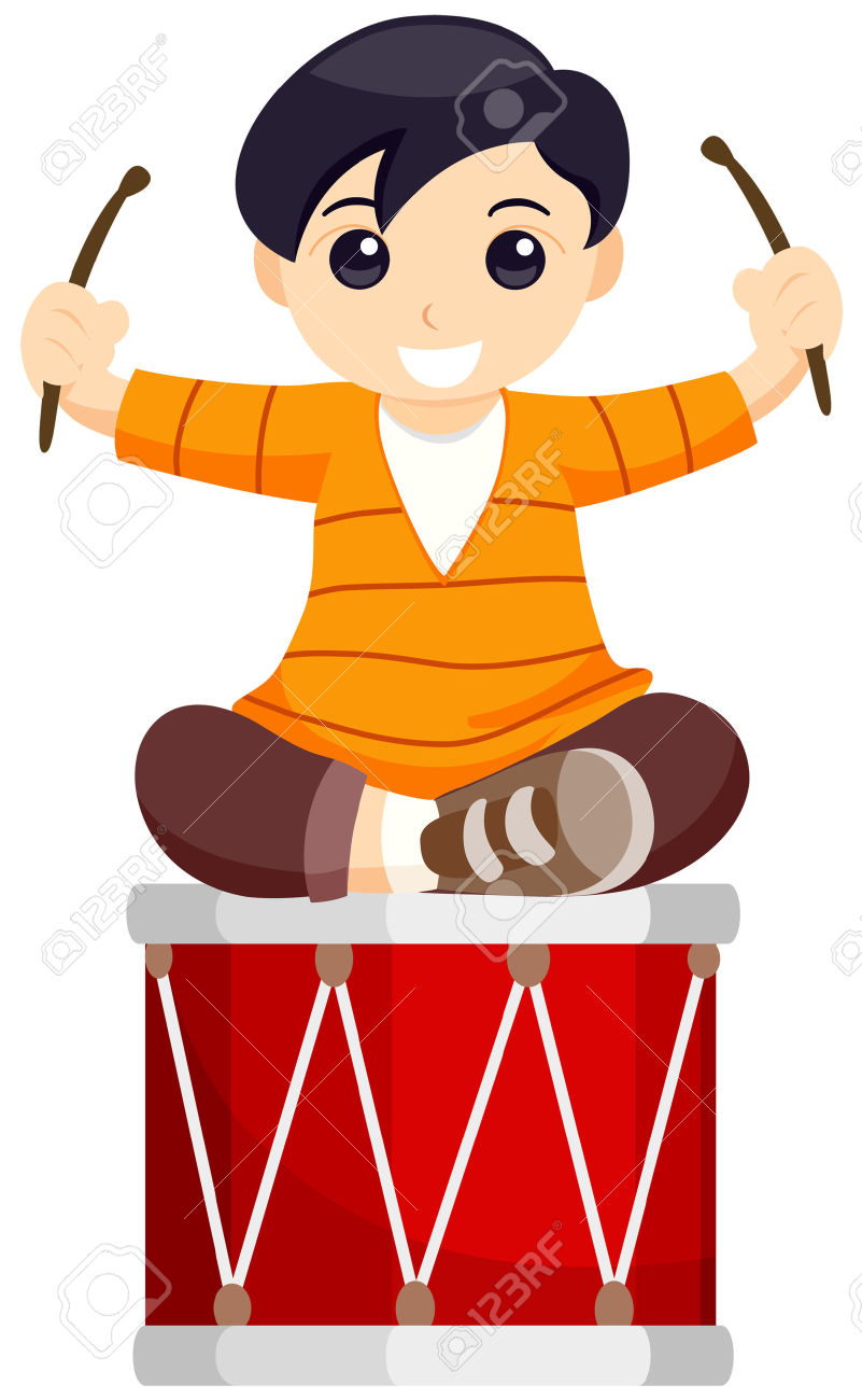 Boy playing drums clipart.