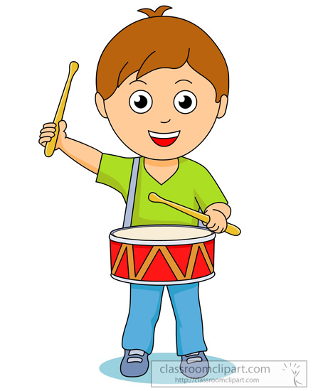 Kids playing drums clipart.