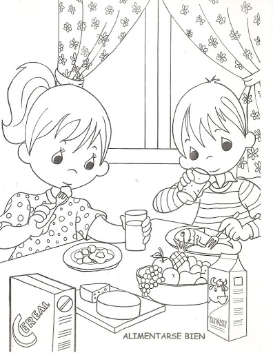 Děti jíst zdravé, Omalovánky.