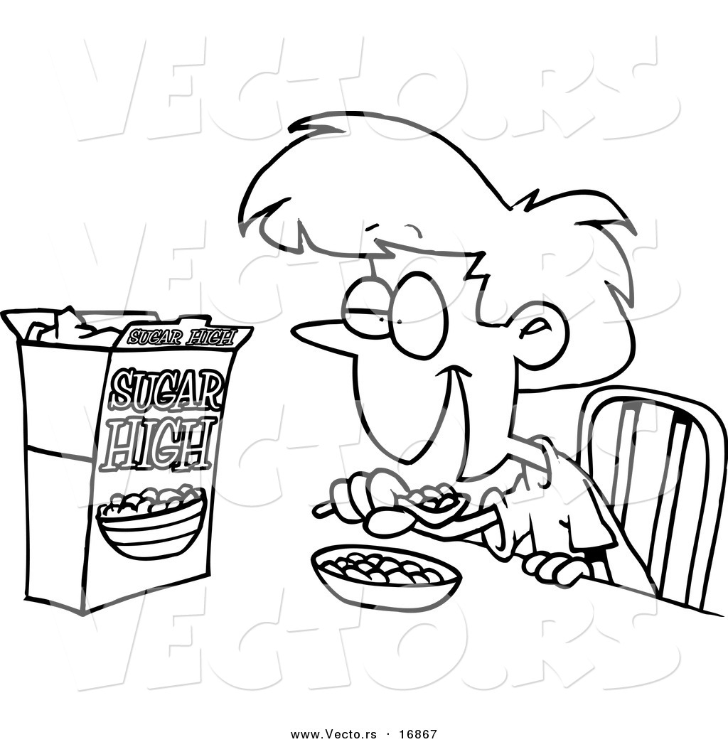 Children Eating Clipart Color Page