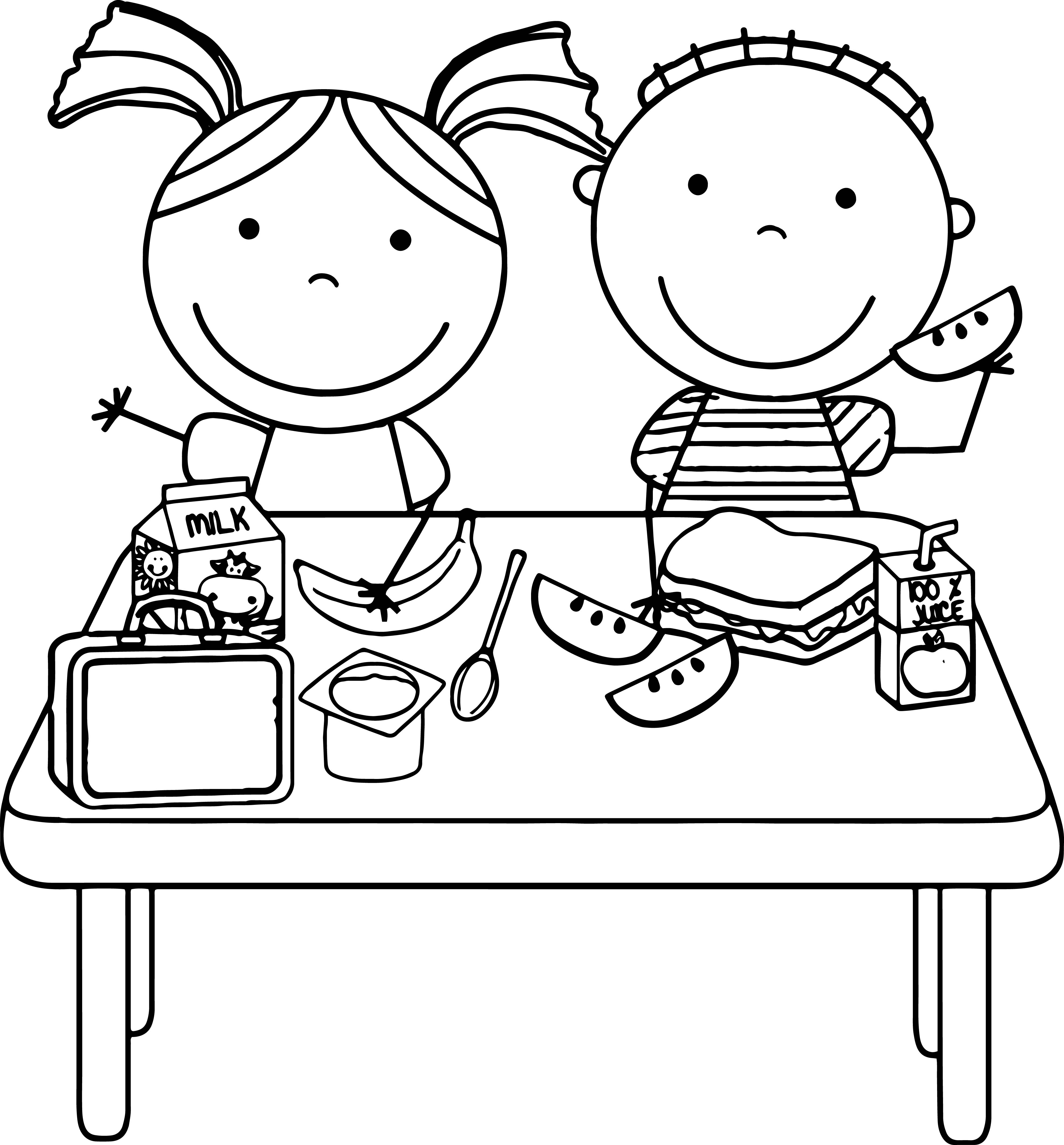 Kids Eating Lunch Kids Coloring Page.