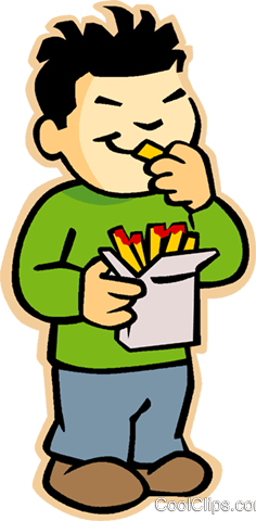 Kids Eating Snacks Clipart.