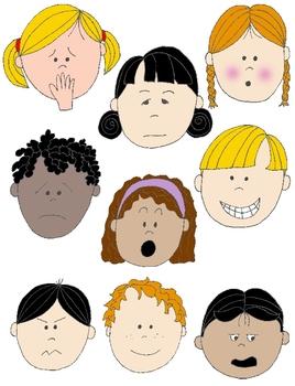 Kids in Action: Faces 2 Clip Art 18 FREE pngs by Rebekah Brock.