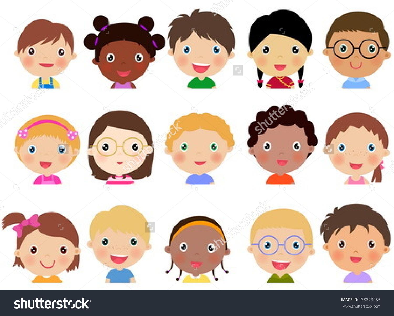 Children Face Set Stock Vector 138823955.