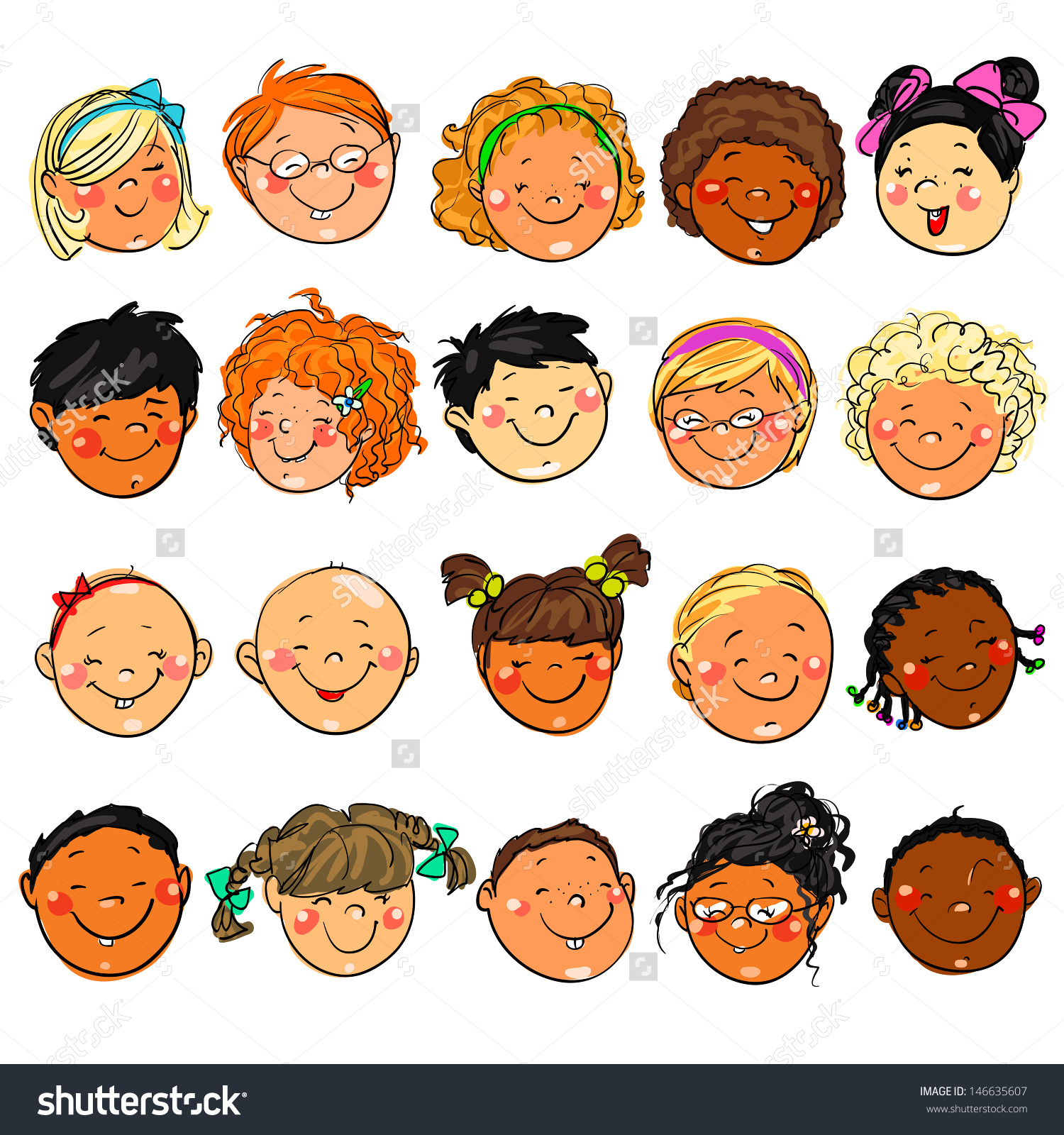 Happy Kids Faces Hand Drawn Clipart Stock Vector 146635607.