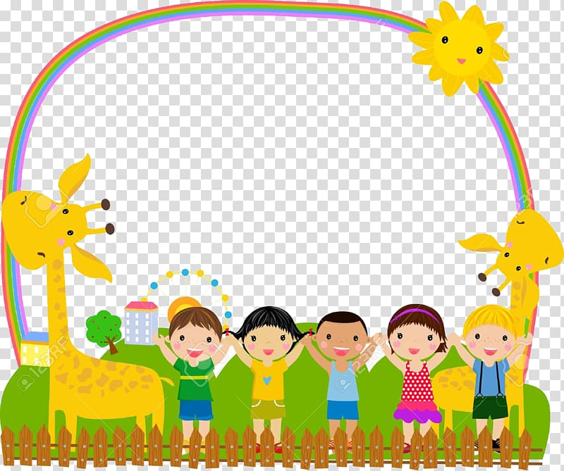 Children and giraffes raising hands illustration, frame.