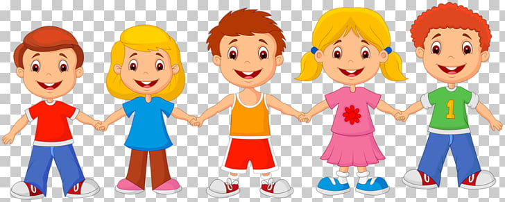 Cartoon Child Drawing , Friends hand in hand, five children.