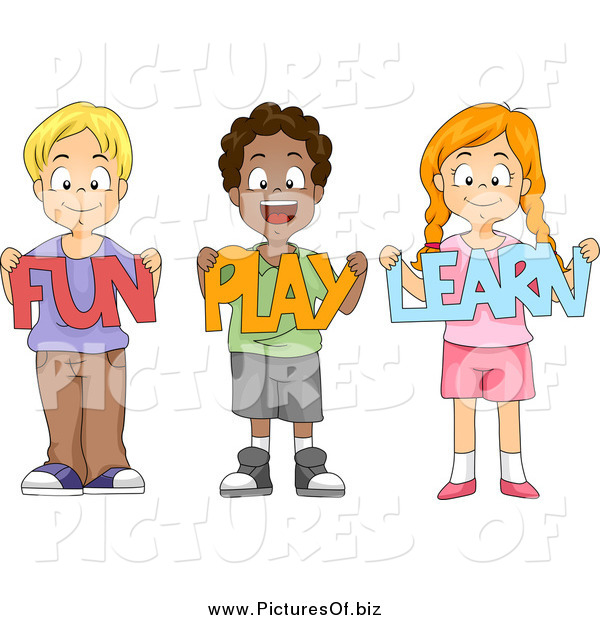 Vector Clipart of a Happy School Children Holding Fun Play Learn.