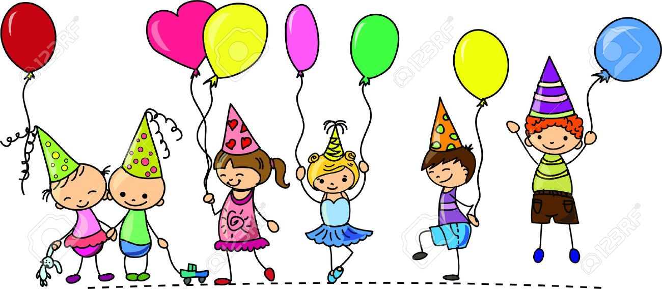 Funny Children's Birthday Party Royalty Free Cliparts, Vectors.