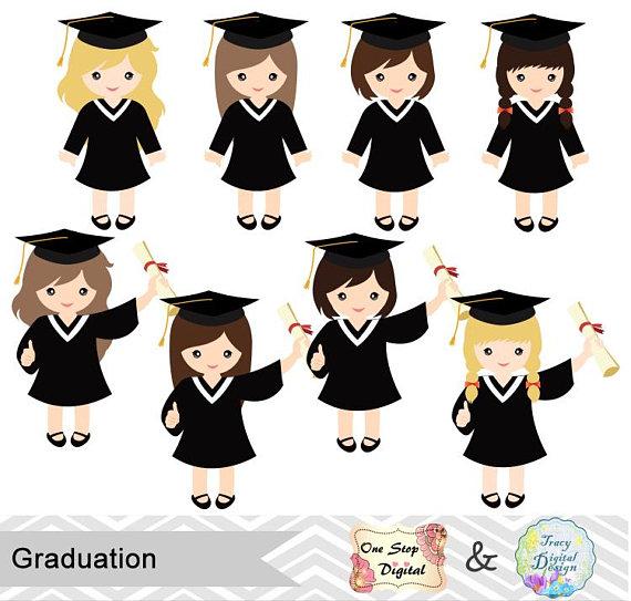 Graduation Girls Clipart, Girls Graduate DIgital Clip Art.