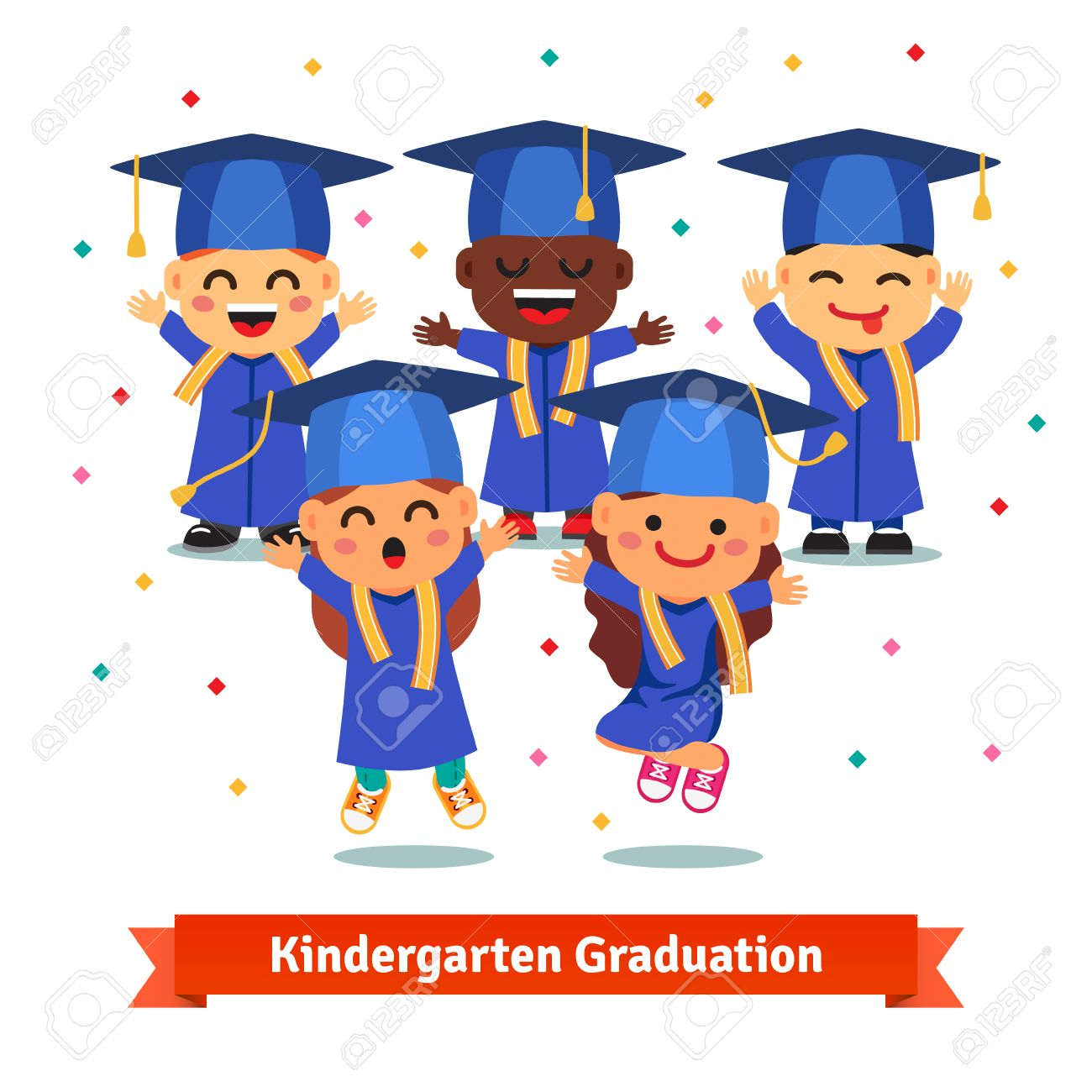 Kindergarten graduation party. Kids in mortar boards and gowns...