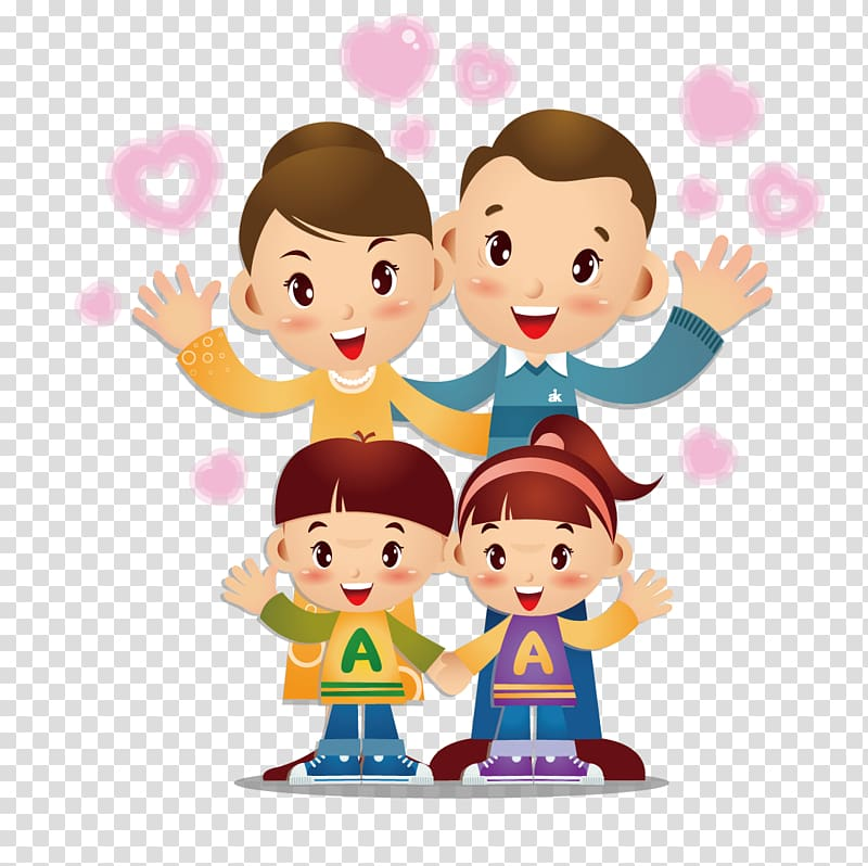Family of four illustration, Child Parent, Xin Xiada love.
