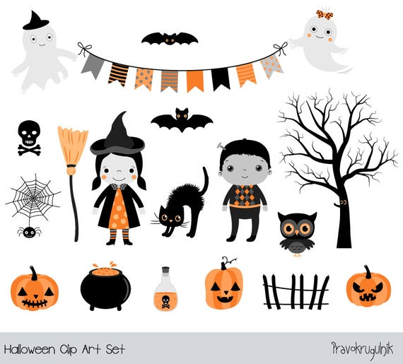 Halloween clipart for kids, Cute Halloween clipart, Girl witch clip art,  Jack O Lantern clipart, ghost, bunting, spooky tree, cauldron, cat.