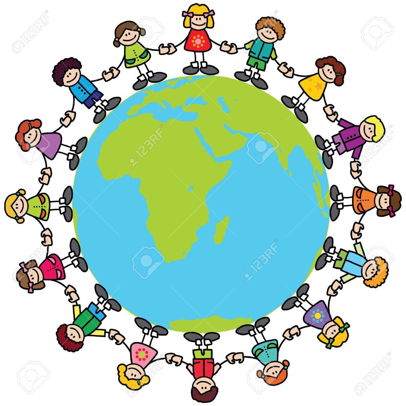 Happy children holding hands around the world.