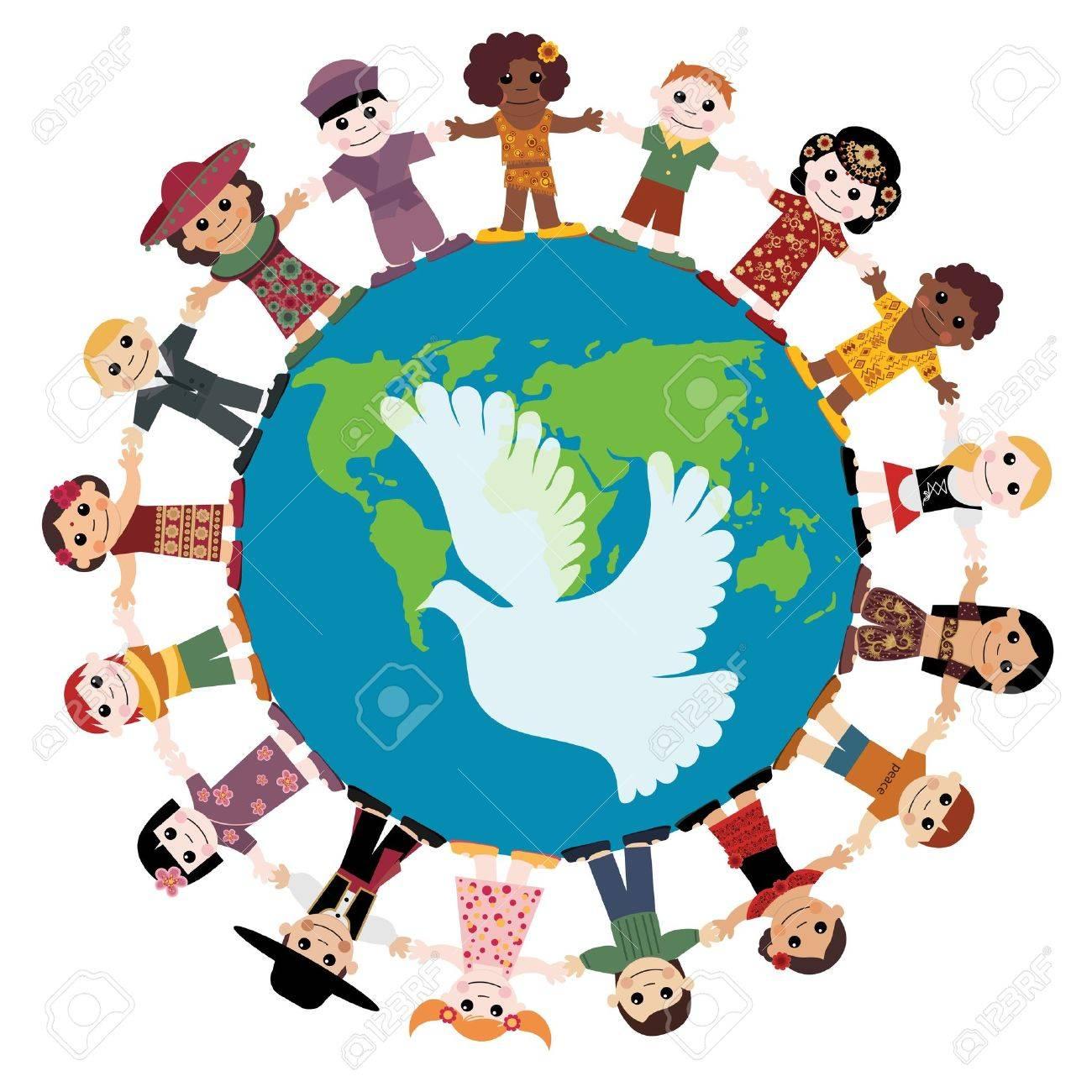Happy children holding hands around the globe.