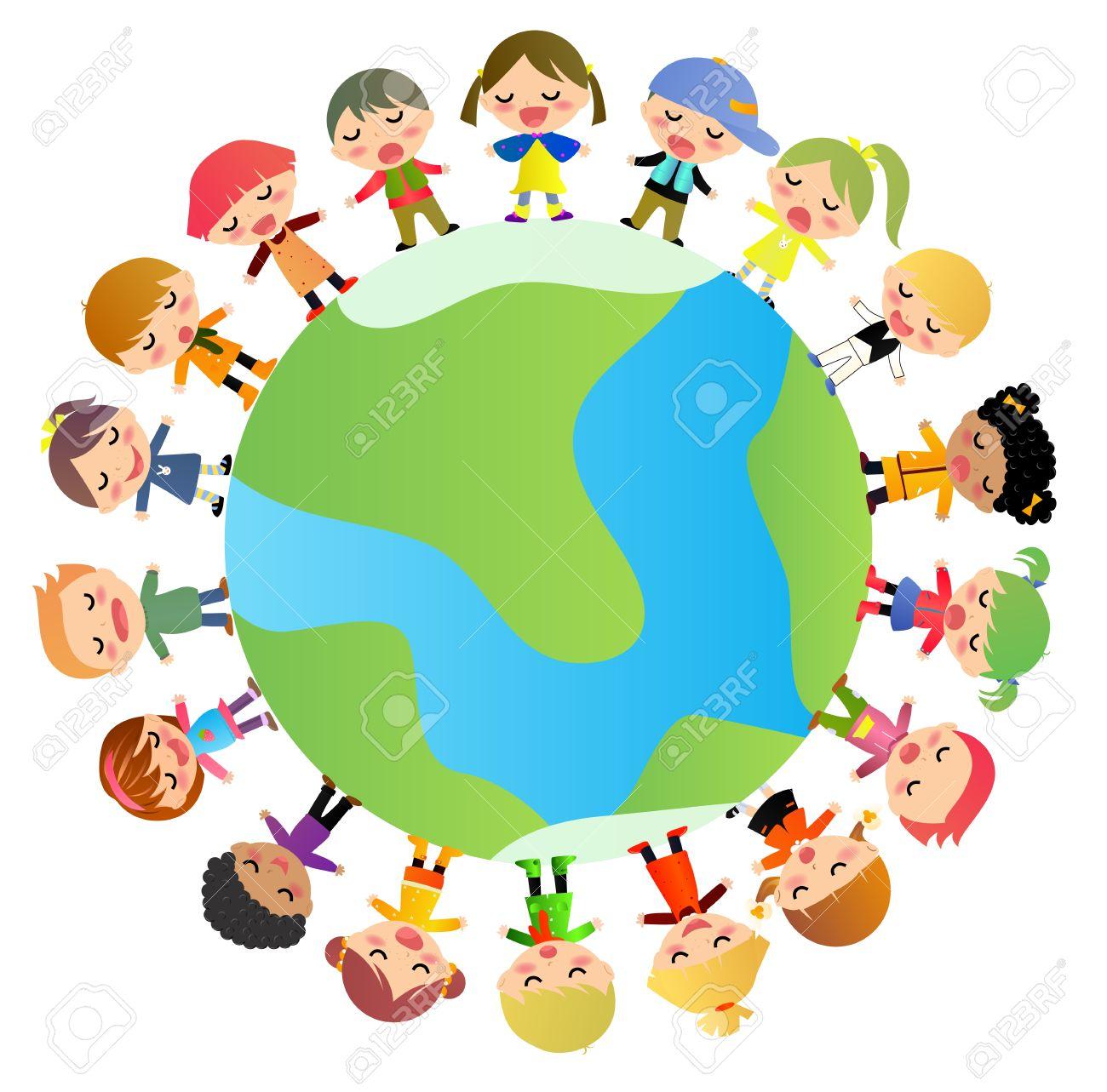 kids diversity holding hands around the world.