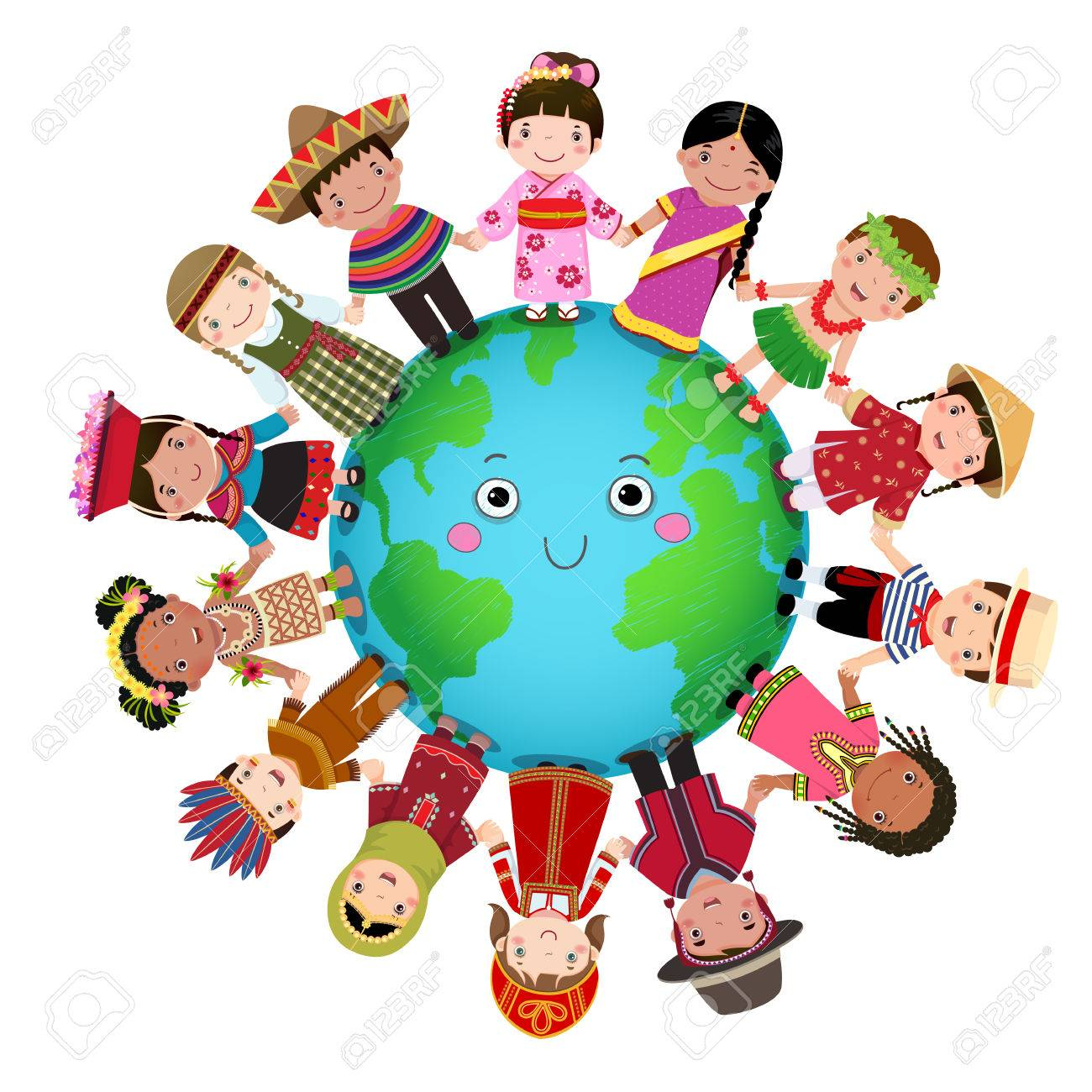 Multicultural children holding hand around the world.