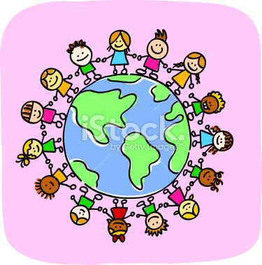 different people holding hands around the world. Clipart image.