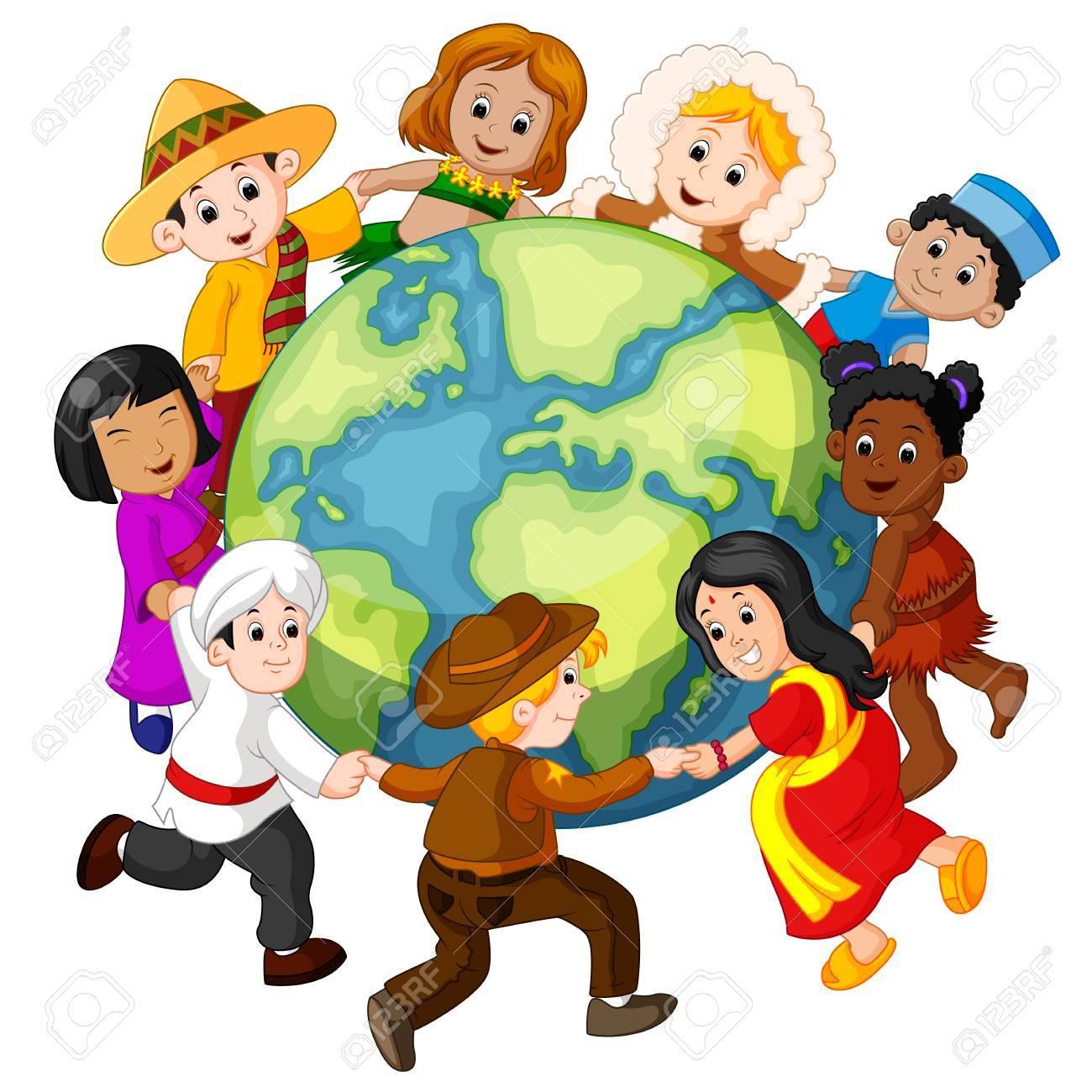 Children holding hands around the world..