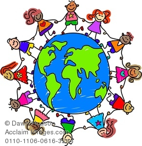 A Group Of Happy And Diverse Kids Holding Hands Around The World.