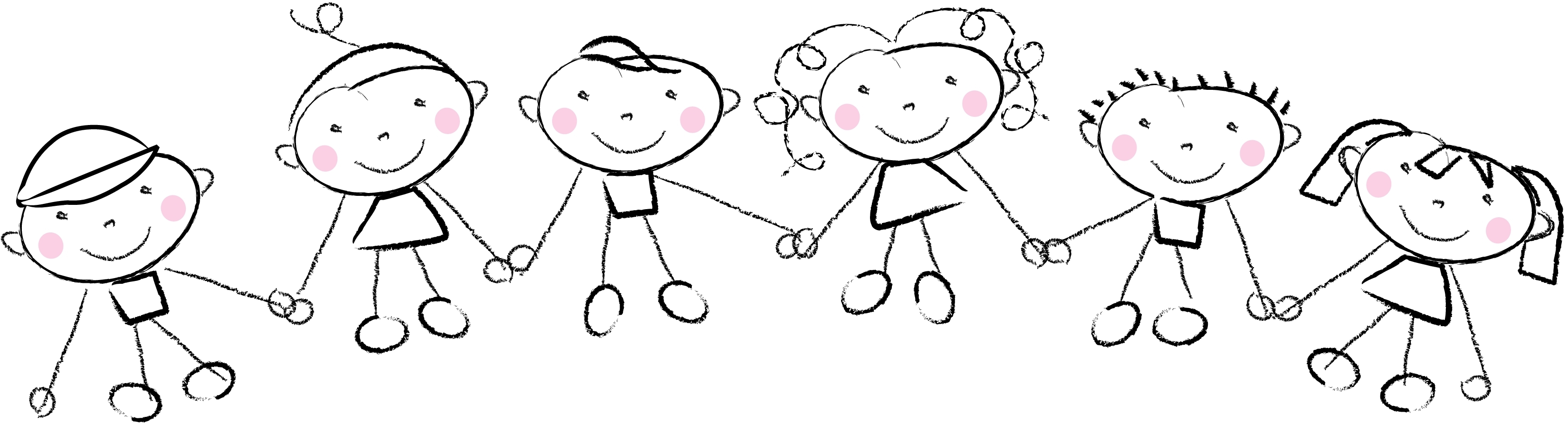 Children Holding Hands Clipart Black And White.