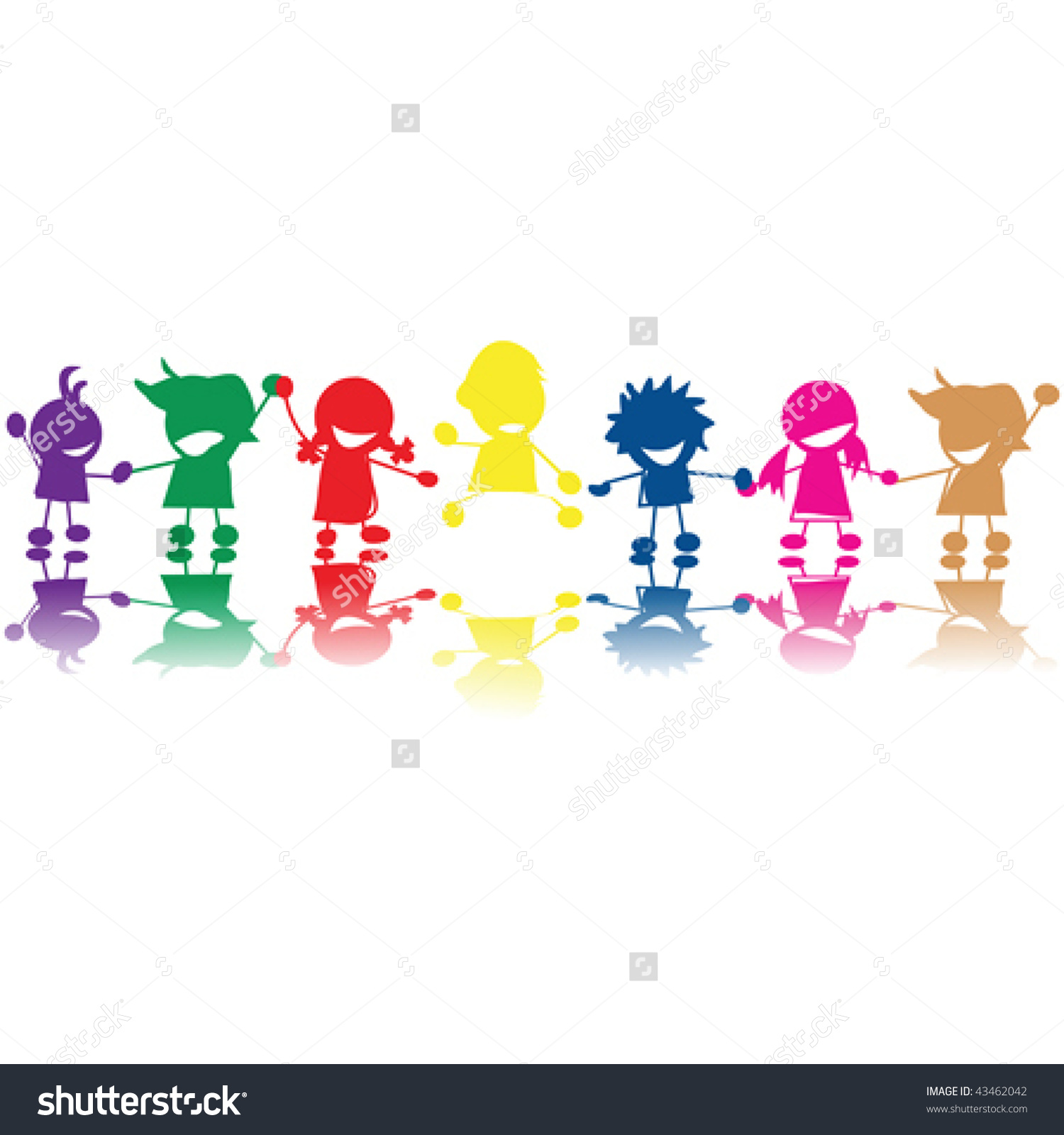 Silhouettes Children Colors Races Holding Hands Stock Vector.