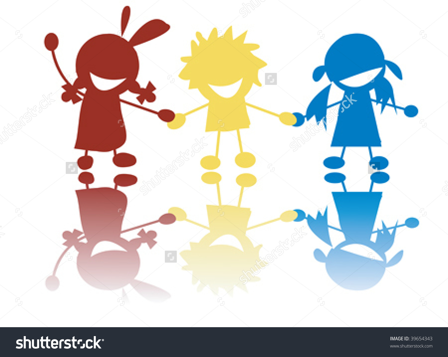 children holding hands color clipart #10