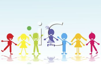 Various Colored Silhouettes of Boys and Girls Holding Hands.