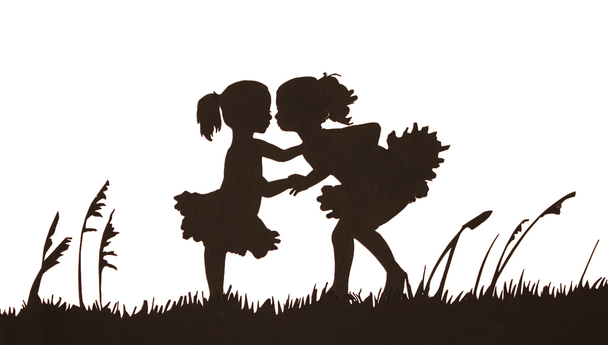 Children holding hands silhouette color clipart.