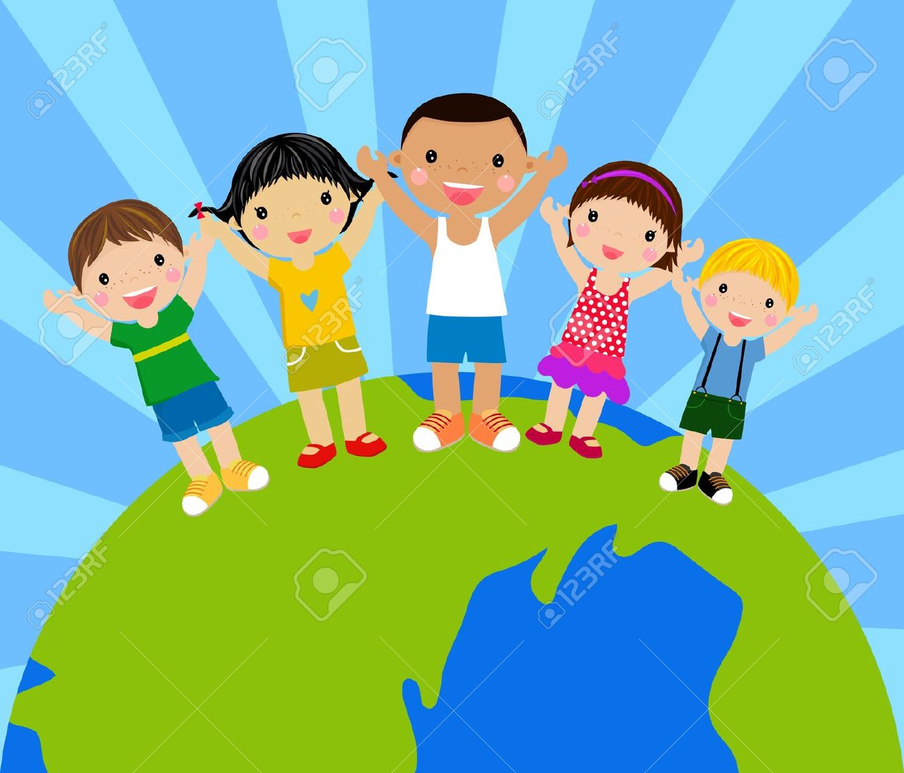 Cartoon Kids Holding Hands Around A Globe Royalty Free Cliparts.