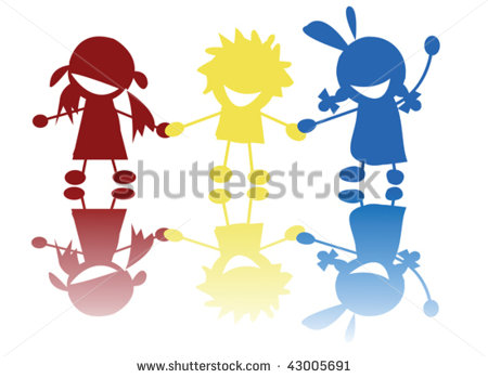 children holding hands color clipart #3