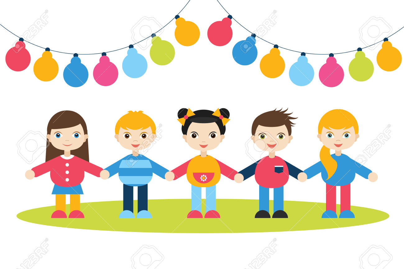 children holding hands color clipart #18