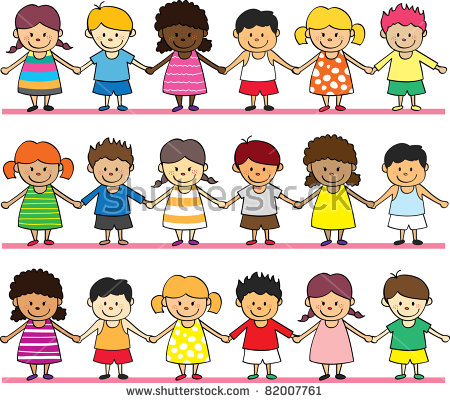 children holding hands color clipart #17